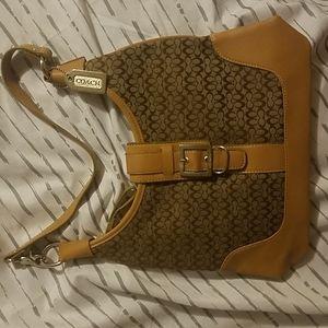 Coach Authentic Beige w/ Brown Cute Shoulder Bag